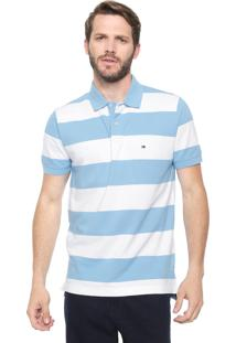 Camisa Polo Tommy Hilfiger Regular Block Stripe Branca/Azul