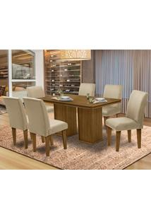 Mesa Para Sala De Jantar Com 6 Cadeiras Amsterdam – Dobuê Movelaria - Mell / Bege