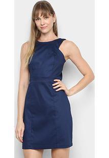 Vestido Mercatto Liso - Feminino-Azul Escuro