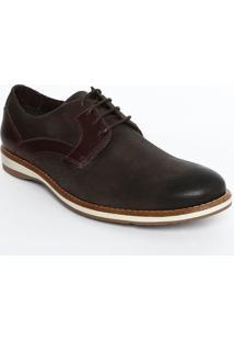 Sapato Social Em Couro Com Microfuros- Marrom Escuromr. Cat