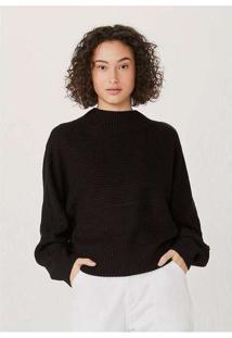 Blusão Básico Feminino Em Tricot Texturizado Preto