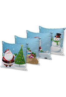 Kit 4 Capas Para Almofada Love Decors Decorativas Papai Noel Cute