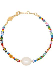 Anni Lu Bracelete Alaia Rainbow Banhado A Ouro 18K Com Contas Peroladas - Azul