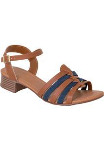 Sandália Com Tiras Caramelo E Jeans