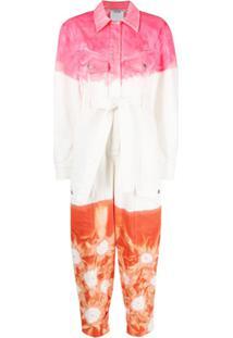 Stella Mccartney Macacão Jeans Tie-Dye Com Cinto - Branco