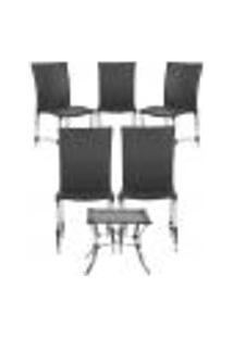 Jogo Cadeiras 5Un E Mesa De Centro Florida Para Edicula Jardim Area Varanda Descanso - Preto