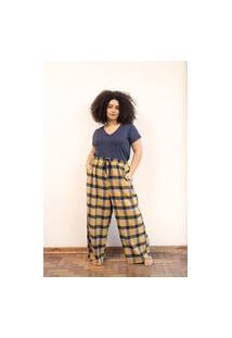 Calça Pantalona Flanelado Xadrez Plus Size Amarelo-Exg
