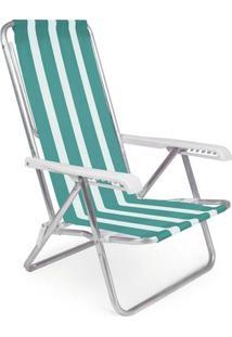 Cadeira Reclinável Alumínio 8 Posições - Unissex-Verde+Branco
