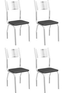 Cadeira Munique Cromada De Metal 4 Peças 4C047 Kappesberg - Marrom