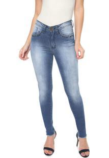 Calça Jeans Eventual Skinny Ilhoses Azul