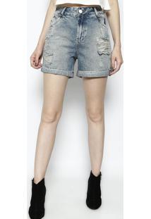 Bermuda Jeans Com Destroyed- Azuldimy