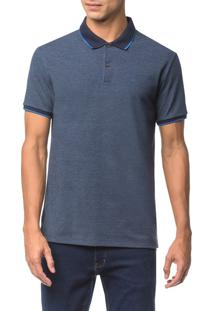 Polo Regular Corpo Mescla Gola Colorida - Indigo - P