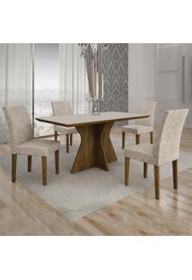 Conjunto De Mesa De Jantar Creta I Com 4 Cadeiras Olímpia Suede Off White E Palha