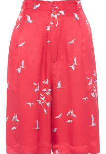 Bermuda Feminina Cintura Alta Garça - Vermelho