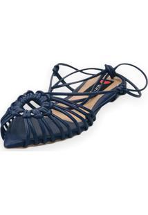 Sandalia Love Shoes Rasteira Bico Folha Amarração Tirinhas Marinho