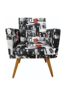Poltrona Decorativa Nina Com Rodapé Suede Charlie Chaplim Vintage - Ds Móveis