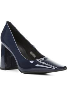 Scarpin Shoestock Bico Quadrado Salto Bloco Alto - Feminino-Marinho