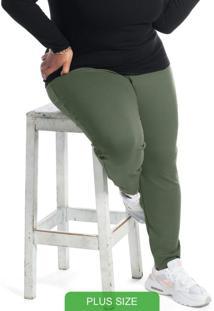 Calça Em Moletom Plus Size Verde
