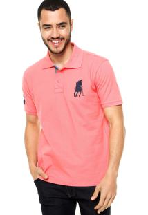 Camisa Polo Manga Curta Polo Club Logo Coral