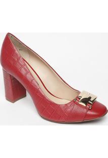 Sapato Tradicional Em Couro Com Fivela- Vermelho- Sajorge Bischoff
