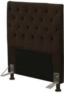Cabeceira Cama Box Solteiro 90Cm Cristal Suede Chocolate - Js Móveis