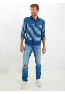 Camisa John John Striped Denim Jeans Listrado Masculina Camisa Striped Denim-Listrado-M