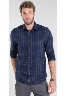 Camisa Masculina Comfort Xadrez Manga Longa Azul Marinho