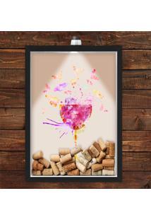 Quadro Caixa Porta Rolha De Vinho 33X43 Cm (Com Led) Lojaria E Nerderia. Vinho Colorido Preto - Preto - Dafiti