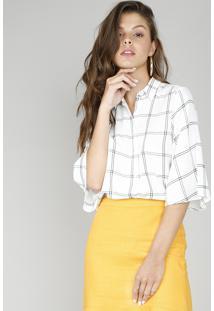 Camisa Feminina Cropped Estampada Quadriculada Manga 3/4 Off White