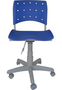 Cadeira Giratória Ergoplax Plástica Base Cinza - Azul