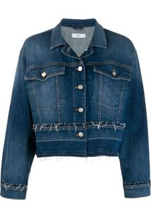 Closed Jaqueta Jeans Com Detalhes Desfiados - Azul