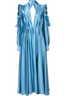 Off-White Vestido Longo Evasê - Azul