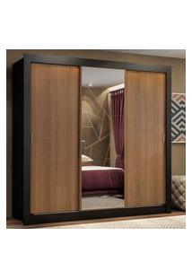 Guarda Roupa Casal Madesa Lyon Plus 3 Portas De Correr Com Espelho 4 Gavetas Preto