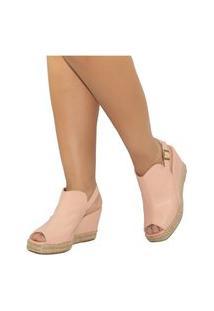 Sandalia Feminina Amorelle Anabela Corda Sapato Plataforma Rosê 1
