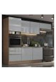 Cozinha Completa Madesa Lux Com Armário E Balcão 6 Portas 3 Gavetas - Rustic/Cinza
