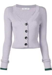 Proenza Schouler White Label Cardigan Cropped Canelado - Roxo