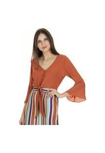 Blusa Cropped Lisa Manga ¾ Flare Com Decote V E Nó Na Vista Com Botões