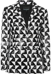 Cynthia Rowley Blazer De Paetês Com Estampa Geométrica - Preto