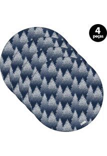 Sousplat Mdecore Natal Pinheiros 32X32Cm Azul 4Pçs