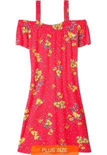 Vestido Vermelho Floral Com Abertura