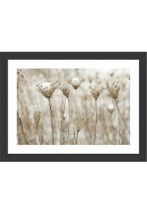 Quadro Decorativo Com Moldura Floral Preto 40X30 Cm