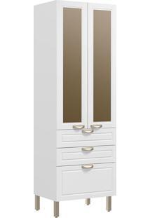 Paneleiro Duplo 2 Portas Com Vidro Reflecta E 3 Gavetas Nevada 5628Vd-Multimóveis - Branco Premium / Branco