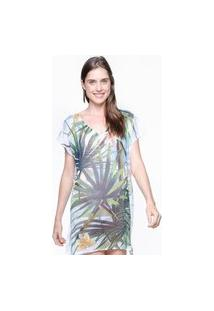 Blusa 101 Resort Wear Tunica Decote V Crepe Estampado Folhas Verdes