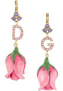 Dolce & Gabbana Par De Brincos Florais Com Aplicação De Cristais - Rosa