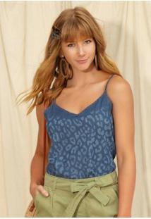 Blusa Jeans Com Alças Azul