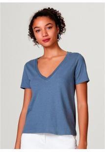 Blusa Básica Hering Em Algodão Com Decote V Feminina - Feminino-Azul