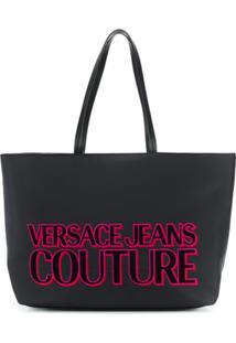 Versace Jeans Couture Bolsa Tote Grande Com Logo - Preto