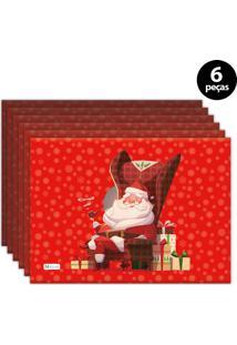 Jogo Americano Mdecore Natal Papai Noel 40X28 Cm Vermelho 6Pçs