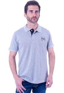 Camisa Polo England Polo Club Slim Masculina - Masculino-Cinza