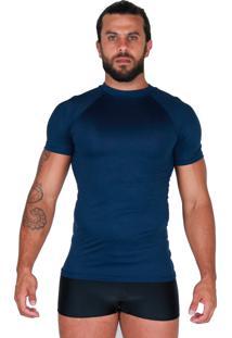 Camisa Térmica Proteção Uv Curta Bravaa Modas 038 Azul
